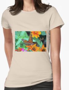 Monarch Butterfly Resting Womens Fitted T-Shirt