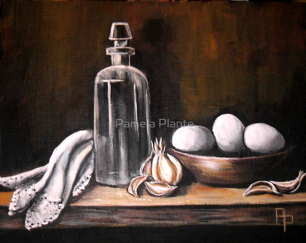 Antique Bottle with Eggs by Pamela Plante