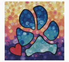 Puppy Love - Colorful Dog Paw Art By Sharon Cummings Kids Tee