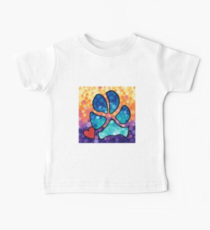 Puppy Love - Colorful Dog Paw Art By Sharon Cummings Baby Tee