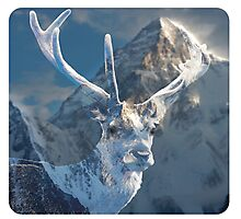Double Exposure Deer and Mountain Photographic Print