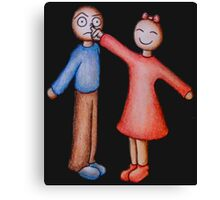 Cute Girl Picking Boy Nose Cartoon Canvas Print