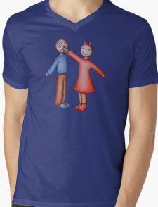 Cute Girl Picking Boy Nose Cartoon Mens V-Neck T-Shirt