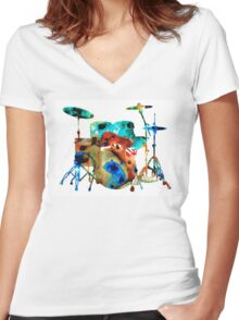 The Drums - Music Art By Sharon Cummings Women's Fitted V-Neck T-Shirt