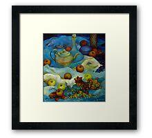 blu still life Framed Print