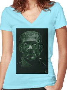 Frankenstein's Monster Women's Fitted V-Neck T-Shirt