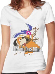 I Main Duck Hunt - Super Smash Bros. Women's Fitted V-Neck T-Shirt