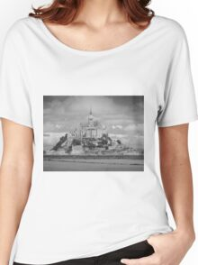 Le Mont Saint-Michel (Black and White) Women's Relaxed Fit T-Shirt
