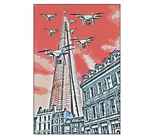Drones leave the Shard nest in red by #fftw Photographic Print