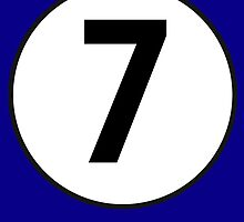 7, Seventh, Number Seven, Number 7, Racing, Seven, Competition, on Navy Blue by TOM HILL - Designer