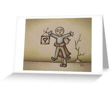 Cute Cartoon Drawing of Girl Hugging Boy Greeting Card