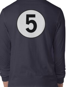5, Five, Fifth, Number Five, Number 5, Racing, Five, Competition, on Navy Blue Long Sleeve T-Shirt