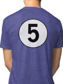 5, Five, Fifth, Number Five, Number 5, Racing, Five, Competition, on Navy Blue Tri-blend T-Shirt