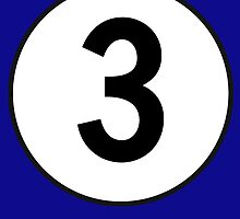 3, Third, Number Three, Number 3, Racing, Three, Competition, on Navy Blue by TOM HILL - Designer