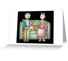 Funny Cartoon Couple Girl Kissing and Boy Mad  Greeting Card