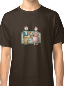 Funny Cartoon Couple Girl Kissing and Boy Mad  Classic T-Shirt
