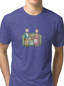 Funny Cartoon Couple Girl Kissing and Boy Mad  Tri-blend T-Shirt