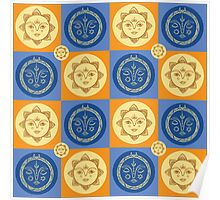 Sun and moon pattern Poster