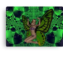 Green Mad Butterfly Woman Canvas Print