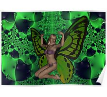 Green Mad Butterfly Woman Poster