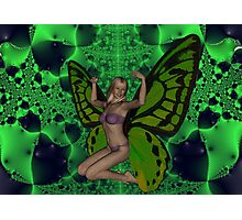 Green Mad Butterfly Woman Photographic Print