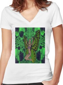 Green Mad Butterfly Woman Women's Fitted V-Neck T-Shirt