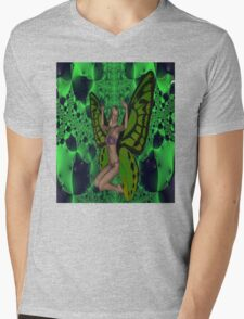 Green Mad Butterfly Woman Mens V-Neck T-Shirt