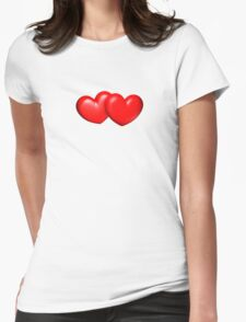 Big and chubby red hearts... Womens Fitted T-Shirt