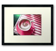 Coffee in Pink. Framed Print