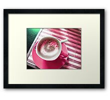 Coffee in Pink. Framed Print