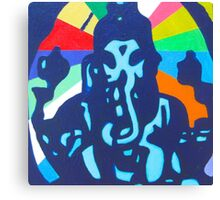 Ganesha with Rainbow yoga inspired art Canvas Print