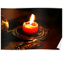 Burning red candle with bright flame Poster