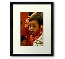 strong. refugee boy, india Framed Print