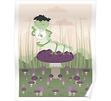 Inchworm eating up a mushroom Poster