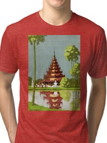 Calcutta Vintage Travel Poster Restored Tri-blend T-Shirt