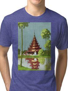 Calcutta Vintage Travel Poster Restored Tri-blend T-Shirt