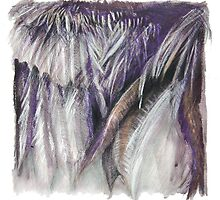 Purple Feathers - detail of a cormorants wing by Ellen  Howell