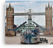 HMS Belfast - Tower Bridge - London Metal Print