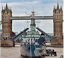 HMS Belfast - Tower Bridge - London Photographic Print