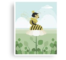Queen bee resting on a flower Canvas Print