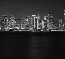 San Francisco Holiday Skyline B&W by Jenn Ramirez