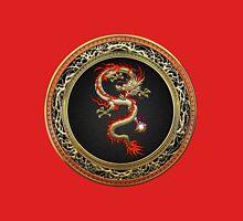 Golden Chinese Dragon Fucanglong on Black  T-Shirt