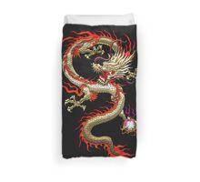 Golden Chinese Dragon Fucanglong on Black  Duvet Cover