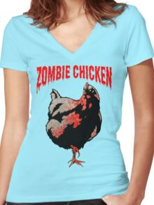ZOMBIE CHICKEN Women's Fitted V-Neck T-Shirt