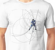 ICE HOCKEY PLAYER IN BLUE AND WHITE DRESS Unisex T-Shirt