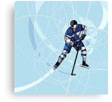 ICE HOCKEY PLAYER IN BLUE AND WHITE DRESS Canvas Print