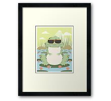 Xenopus with sunglasses in a pond Framed Print