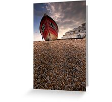 Bognor Beach And A Boat Greeting Card