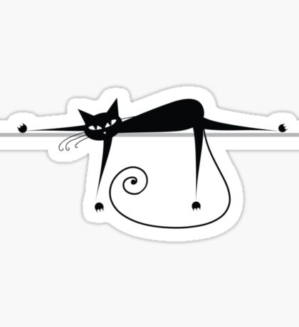 Relax. Black cat silhouette Sticker