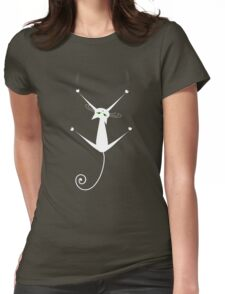 White cat silhouette Womens Fitted T-Shirt